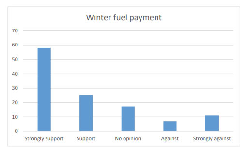 Chart 17 shows that nearly 75% of people asked were in Strong support (58) or Support (25) of an annual Winter fuel payment.