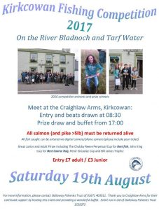 Please meet at the Craighlaw Arms, Kirkcowan at 8:30am to draw your beat on the River Bladnoch / Tarf Water. Weigh in will be at 5pm. Various prizes for adults and juniors.